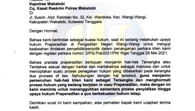 Kapolres dan Kasat Reskrim Diminta Hormati Proses Hukum Praperadilan